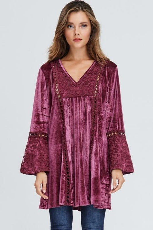 Velzera Boho Embroidered Velvet Tunic Dress - Dusty Rose