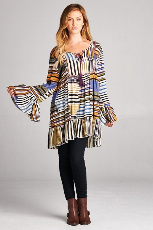 Velzera Boho Tunic Dress - Multi Purple