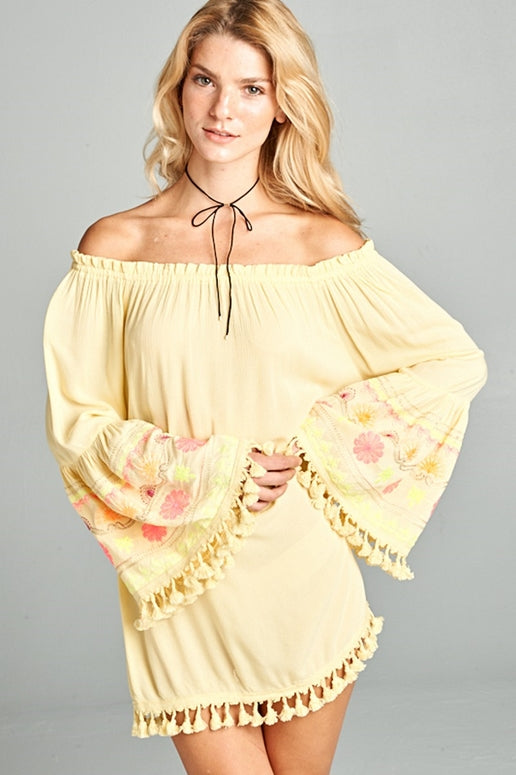 Velzera Fiesta Off Shoulder Tassel Dress - Yellow