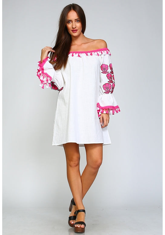 Velzera Off Shoulder Embroidered Dress - Fuchsia