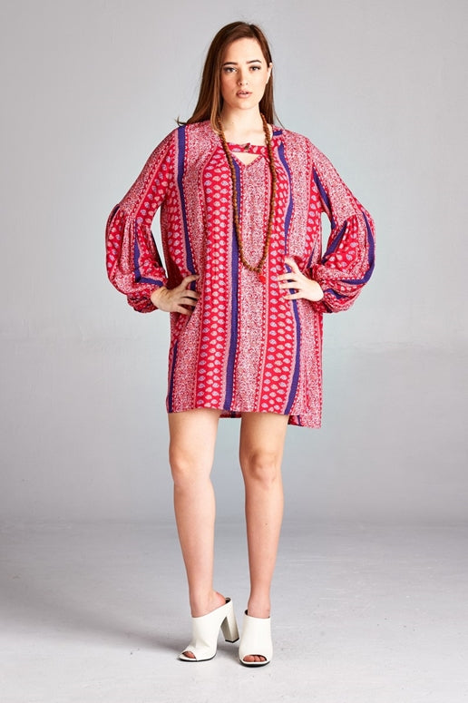Velzera Print Tunic Dress - Red