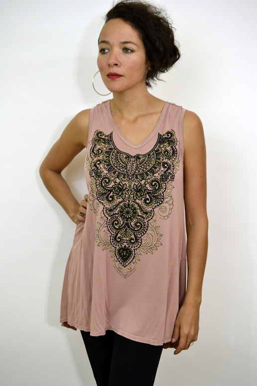 Vocal Tank Top with Back Trim - Dusty Rose