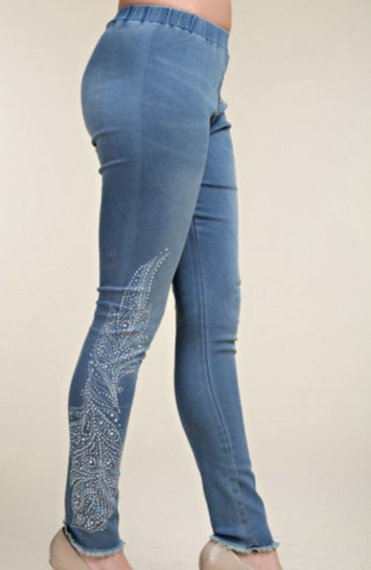 Vocal Denim Multi-color Rhinestone Leggings
