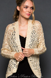 Gee Gee Open Crochet Sequined Sweater - Cream