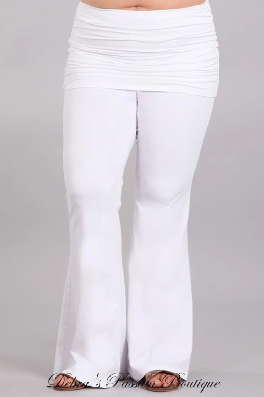 Chatoyant Ruched Bell Bottom Plus Pants - White