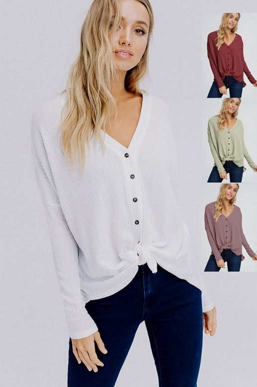 Comfy Front Tie Waffle Top - Four Colors