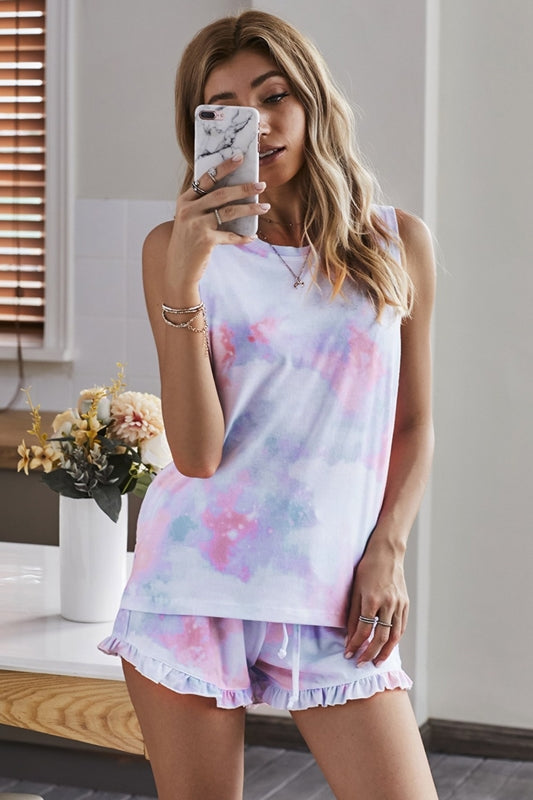 Tie Dye Tank & Rufle Shorts - Cloud Pink