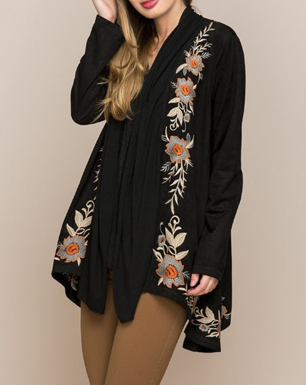 Monoreno Floral Drape Embroidered Jacket - Black