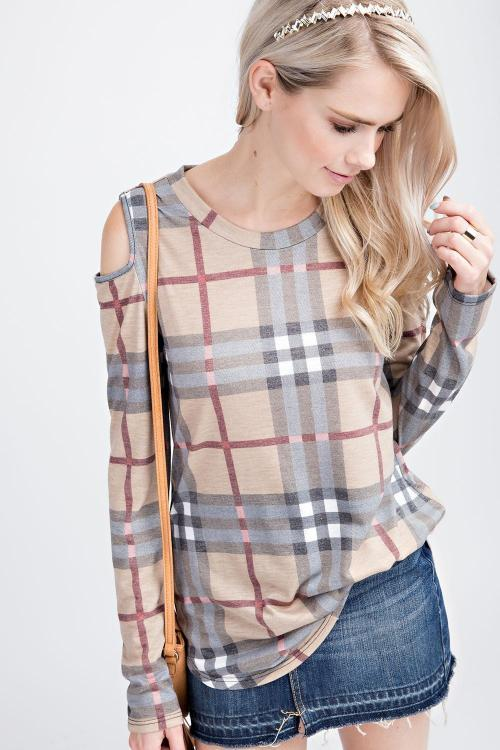 12PM Plaid Print Cold Shoulder Top - Mocha