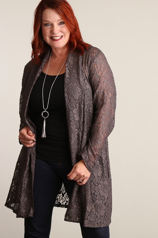 Mocha Lace Plus Cardigan