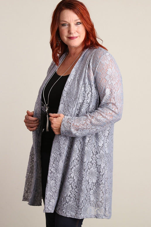 Silver Lace Plus Cardigan