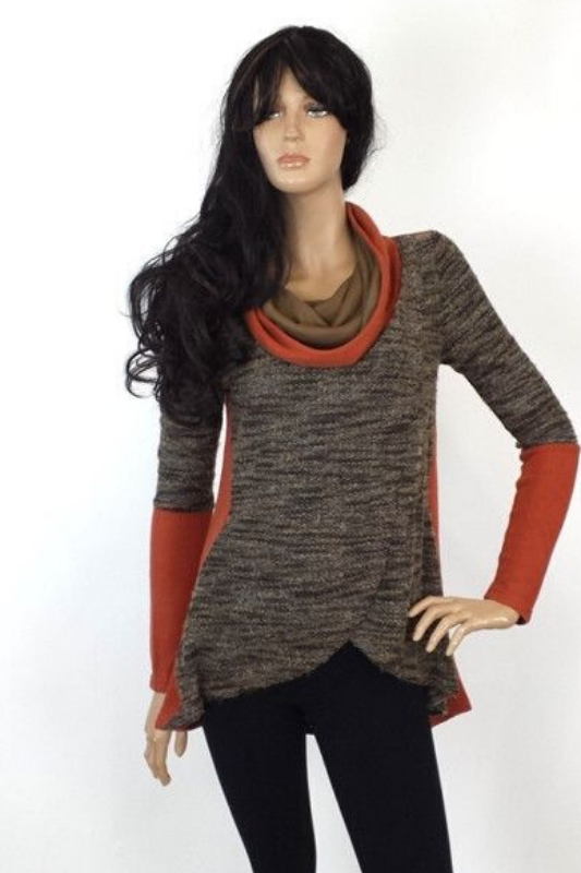 A'reve Cowl Neck Top -  Rust