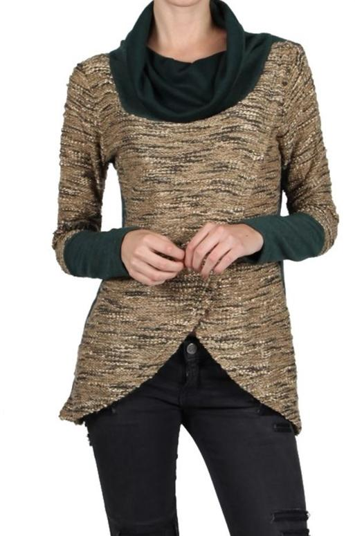 A'reve Cowl Neck Top - Hunter Green Beige