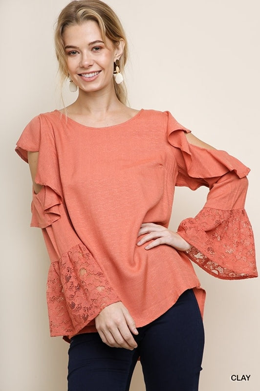 Ruffle Cold Shoulder Blouse - Clay