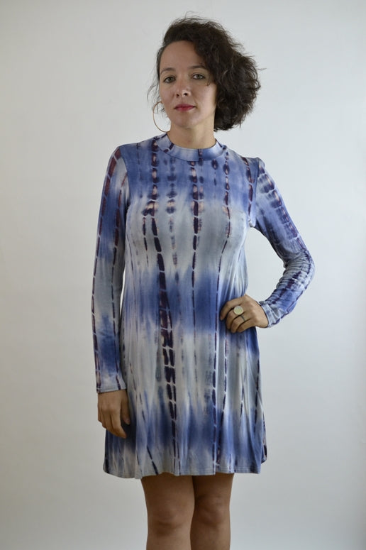 Bamboo Tie Dye Jersey Dress - Indigo