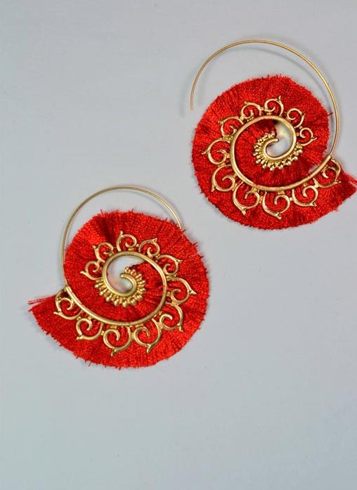 Baroque Valentine Red Hoop Statement Earrings