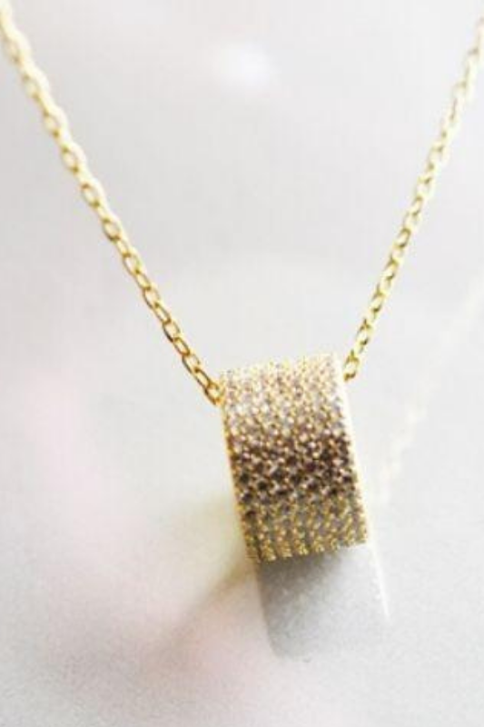 CZ Barrel Chain Necklace - 18 kt Gold
