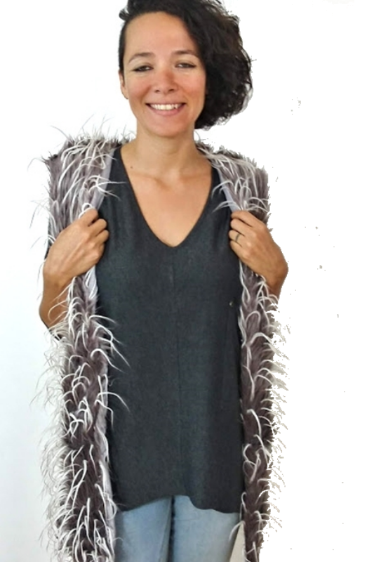 Sassy Bling Faux Furry Vest - Taupe