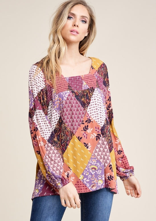 Staccato Cutie Pie Patchwork Blouse - Berry