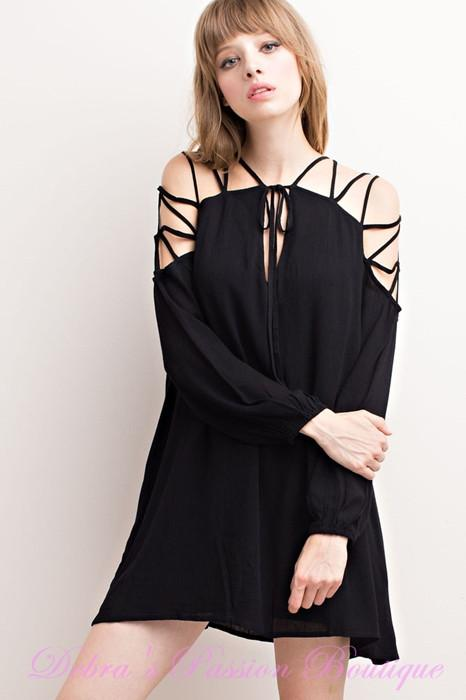 Mittoshop New Strappy Shoulders Swing Dress - Black - Debra's Passion Boutique - 1