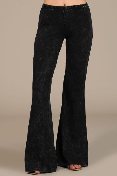 Chatoyant Mineral Wash Bell Bottom Soft Pants - Black & Colors