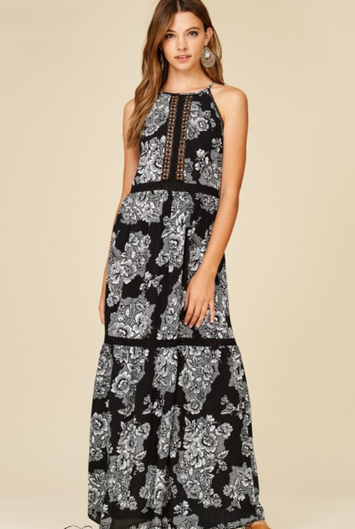 Annabelle Peasant Tier Maxi Dress - Black