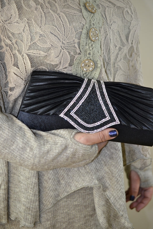 Rhinestone Pleated Clutch Purse - Black