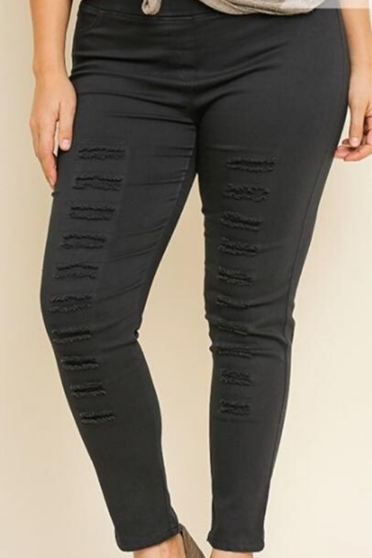 Umgee Plus Distressed Leggings - Black