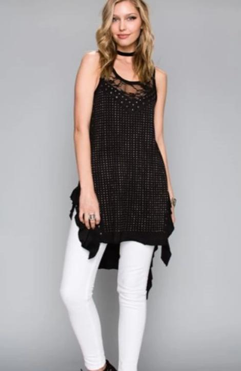 Vocal Hi Lo Shabby Chic Tunic - Black