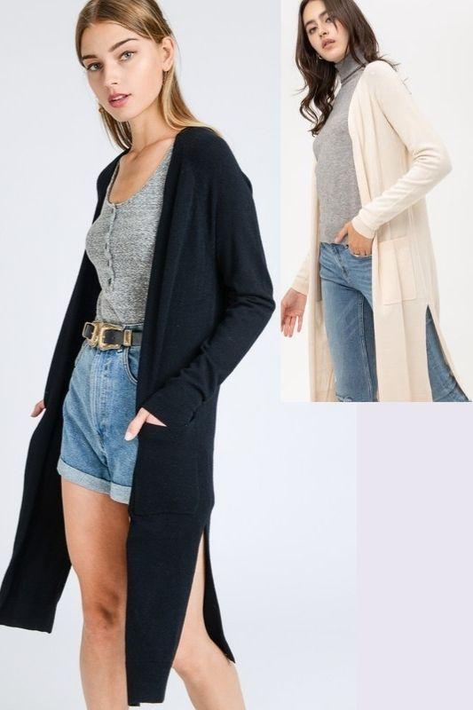 Casual Office Cardigan Long Sweater - Black or Butter
