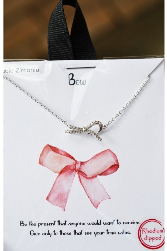 Silver Bow Charm Gift Necklace