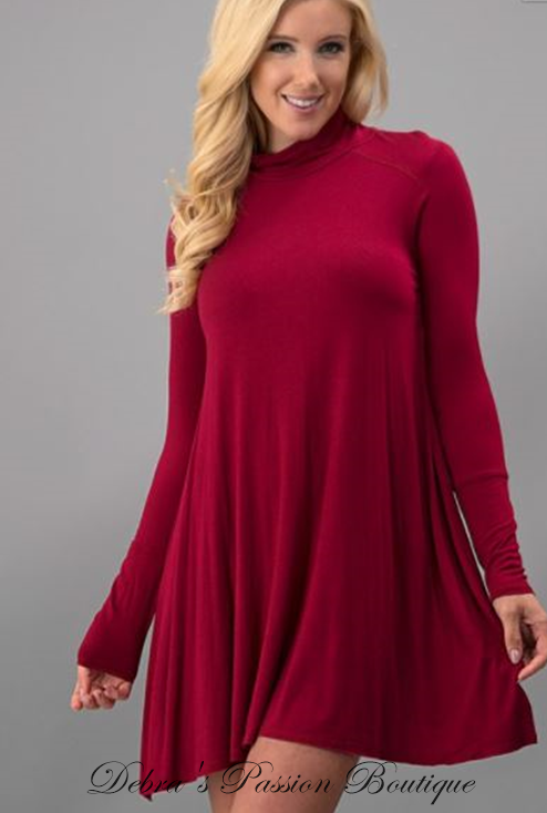 Long Sleeve Turtleneck Jersey Dress