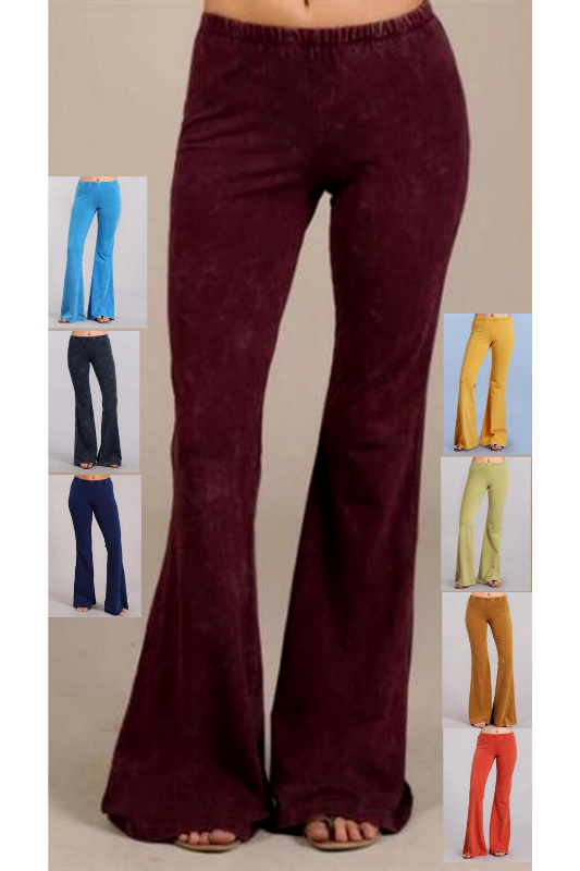 Chatoyant Mineral Wash Bell Bottom Soft Pants - 8 Great Colors