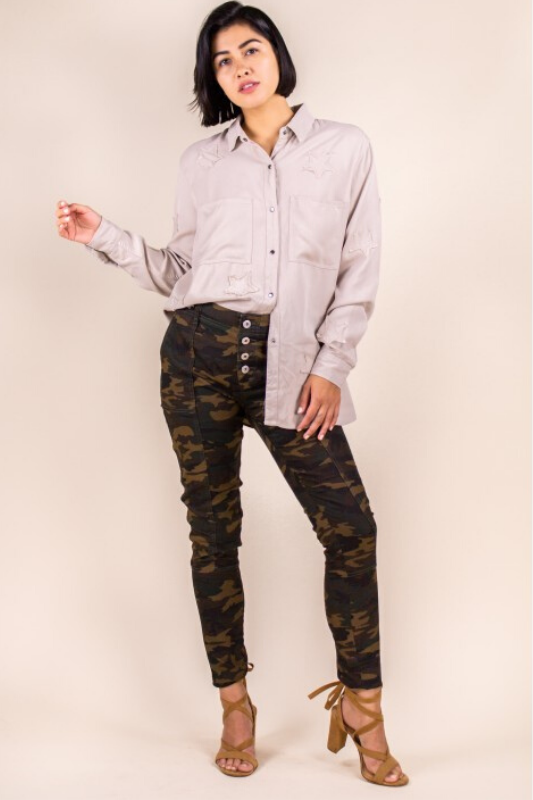 P.Cill Camo Print Skinny Pants - Olive