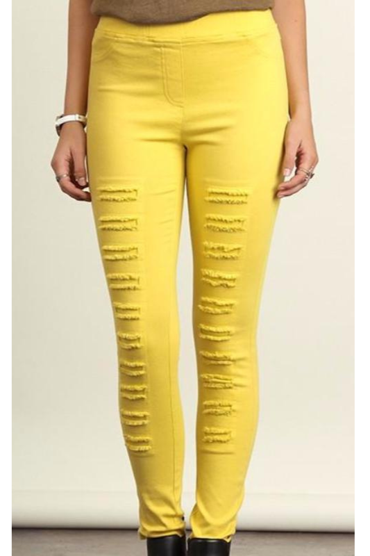 Umgee Distressed Leggings Jeggings - Canary Yellow
