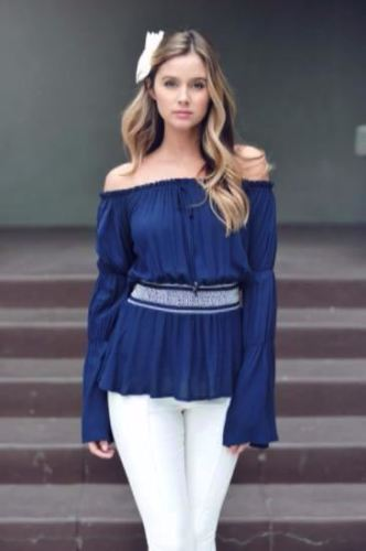 Christie Off Shoulder Bell Sleeve Peasant Top-Navy