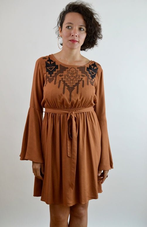 Embroidered Bell Sleeve Dress - Cinnamon
