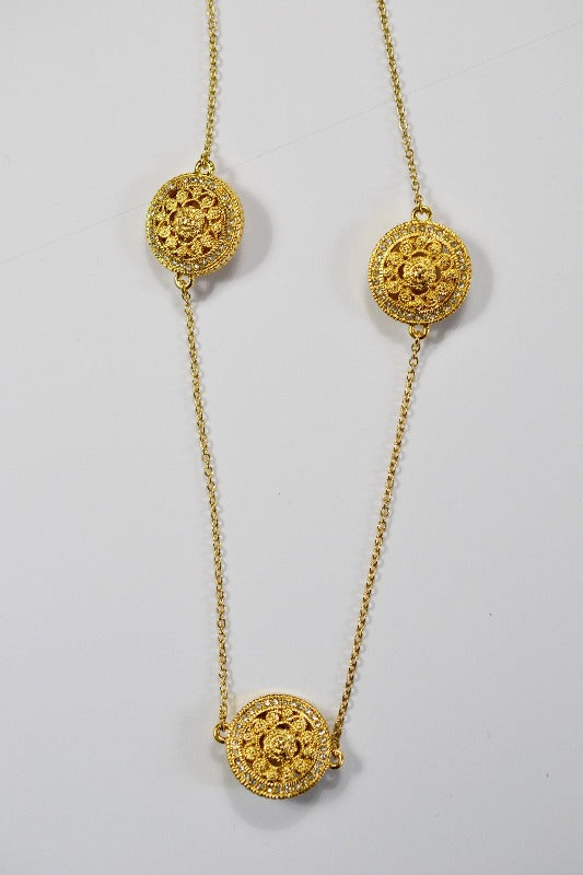 Gold Circles Chain Necklace - CZ