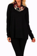 Contrast Cowl Neck Black Top