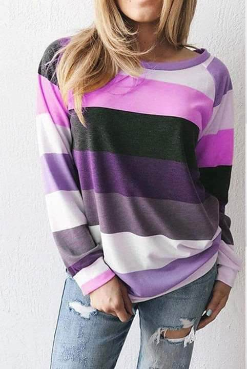 Striped Pullover Top - Purple