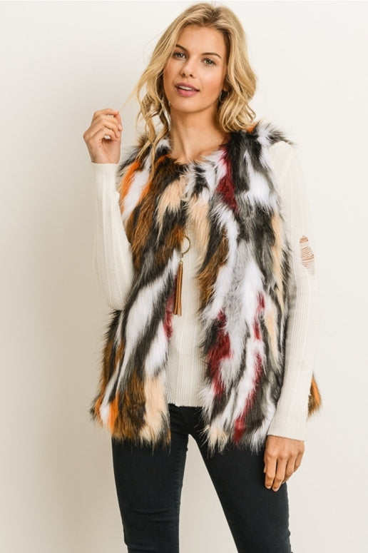 Gilli Multi color Furry Vest