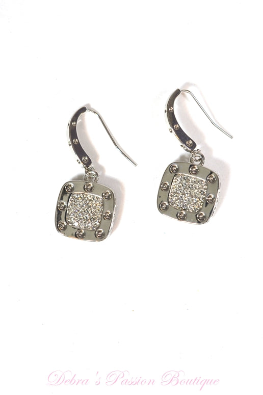 Cube Silver Cubic Zirconia Earrings