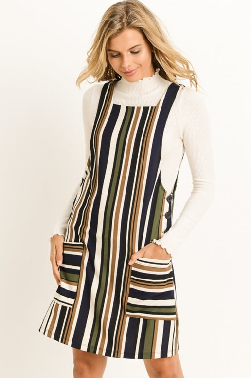 Gilli Striped Jumper - Navy Olive