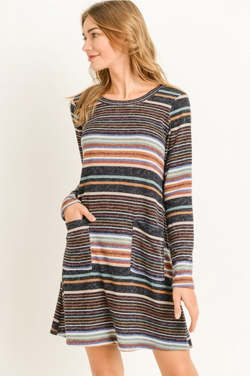 Gilli Multi Stripe Comfy Pockets Tunic Dress