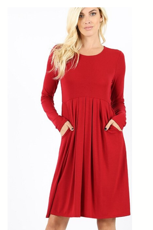 Serene Magical Winter Dress - Dark Red