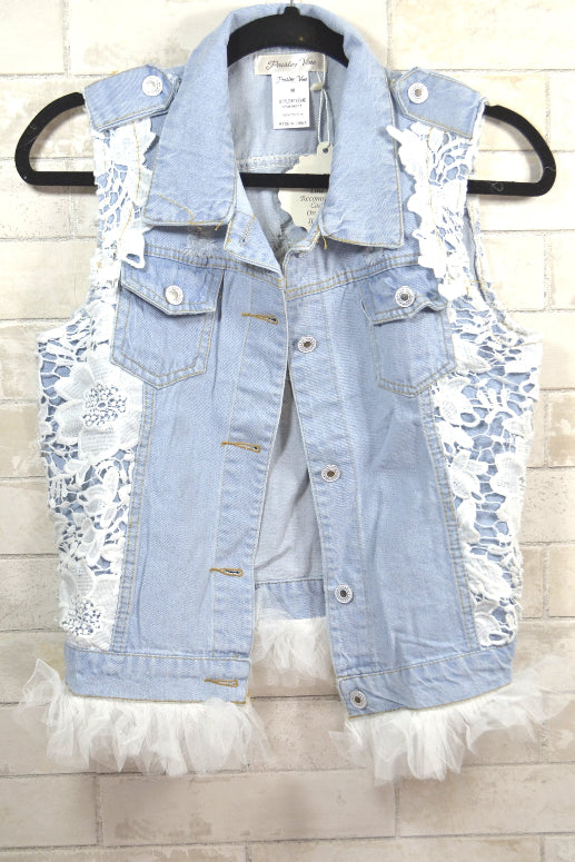 Sassy Bling Denim Vest - Light Blue