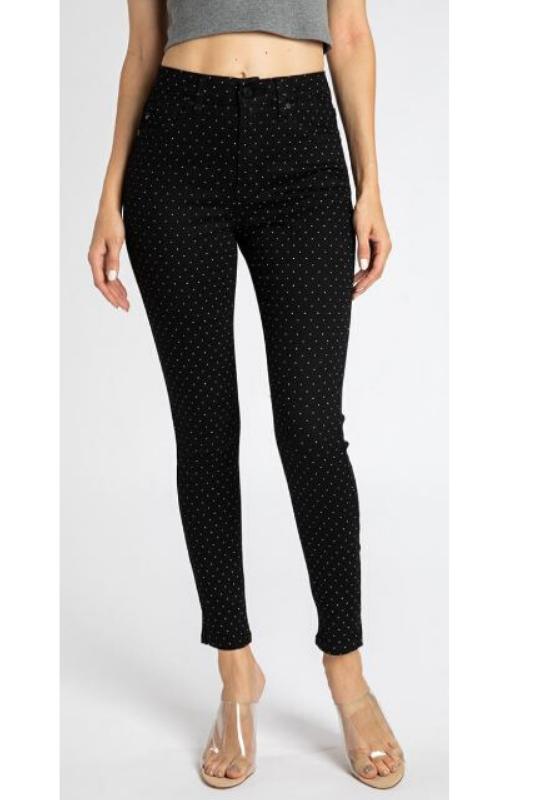 Kancan Short Skinny Dot Pants - Black