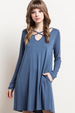Mittoshop Criss Cross Swing Dress - Dusty Navy