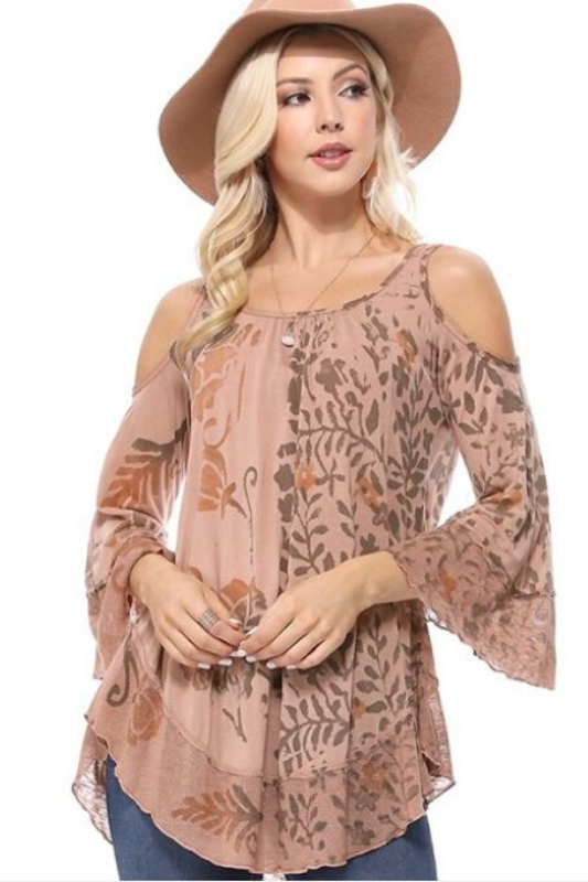 T Party Floral Cold Shoulder Top - Dusty Rose