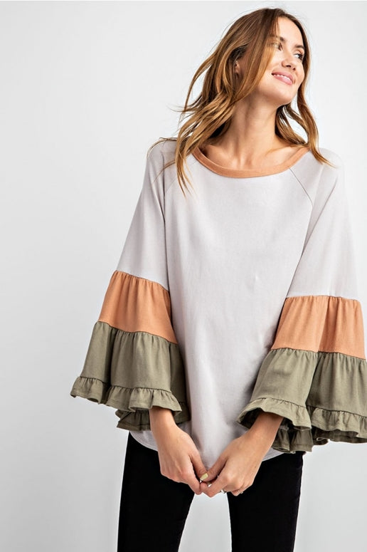 Easel Tiered Ruffle Sleeve Block Top - Pigeon